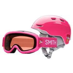 Smith ZOOM JR / GAMBLER, | detské | helma + okuliare | Pink Sugarcone | 5358