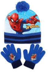 SETINO Chlapčenská čiapka a prstové rukavice Spiderman - modrá