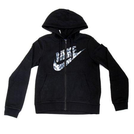Nike W NSW HOODIE FZ FLC GX TXT FLR, 10 | INNE SPORTY NSW | KOBIETY | BLUZKA Z KAPTUREM PEŁNY LS | CZARNY | M.