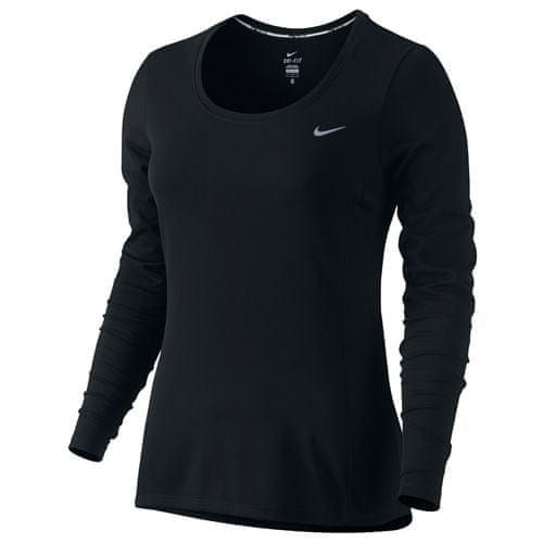Nike DRI-FIT CONTOUR LONG SLEEVE, 10   RUNNING   WOMENS   LONG SLEEVE TOP   BLACK / REFLECTIVE SILV   M