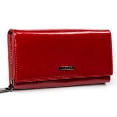 Lorenti Klasická prostorná kožená peněženka Breta, červená