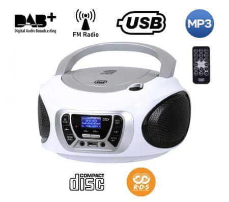 Trevi CMP 510 Boombox, DAB/DAB+, CD predvajalnik, USB, MP3, bel