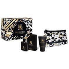 Trussardi Dárková sada , Black Extreme, EDT 50 ml, sprchový gel 100 ml, kosmetická taška