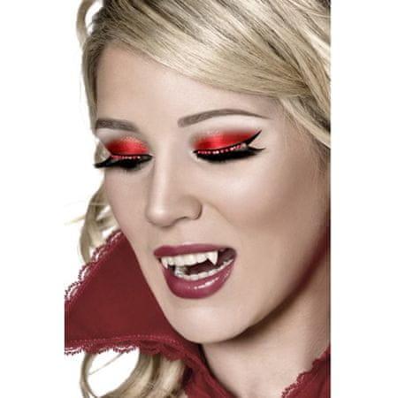 Smiffys Drámai szempillák piros kristályokkal, Halloweeni jelmezek