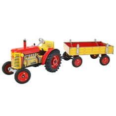 KOVAP Traktor Zetor s prívesom, plechový červený, červené kov. disky