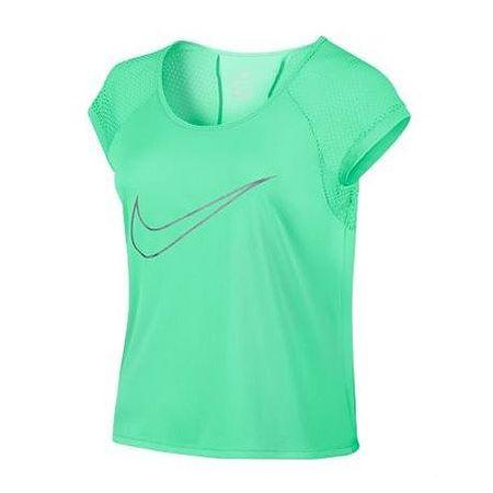 Nike W NK SUHI TOP SS HITRO HITRO, 10 | RUNNING | ŽENSKE | KRATEK SLEEVE TOP | ZELENO SVETLO / REFLEKTIVNO SREBO | L