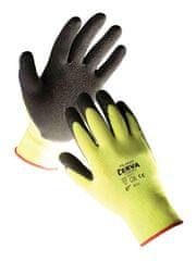 Cerva Bezešvé pletené máčené latexové pracovní rukavice Palawan, mechanické - univezální žlutá 10