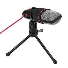 Omega Platinet VGMM stolni mikrofon sa 3-nožnim stalkom s podesivim nagibom, 1,8 crveni kabel