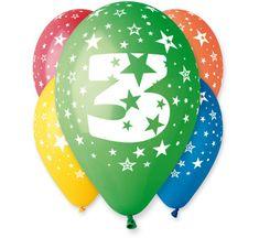 Gemar Latex Balloons Number 3 színes mix-on hélium-5db