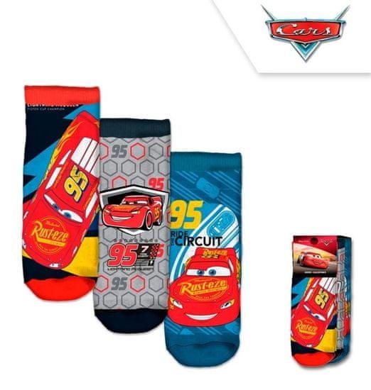 Chlapčenské členkové ponožky McQueen / Cars - 3ks v balení - 19–22