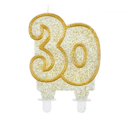 GoDan Sveča za torto številka 30 - zlato