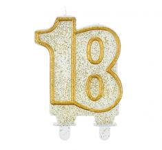 GoDan Dortová svíčka číslo 18 - zlatá