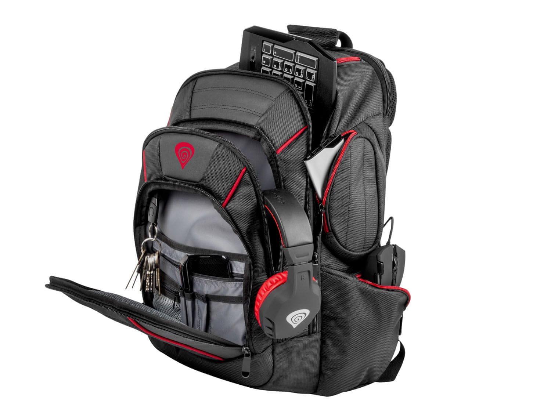 Genesis Pallada 500 batoh pre herné 15,6 / 17,3 notebooky (NBG-0986) vrecko na okuliare ergonomický chrbát a ramenné popruhy