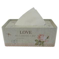 StarDeco Plechový box na kapesníky Love ST149MH