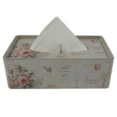 StarDeco Plechový box na kapesníky růže ST151MH