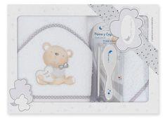 Interbaby osuška froté medvedík Love + hrebeň - biela
