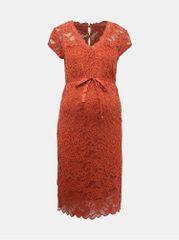 Mama.licious cihlové krajkové těhotenské šaty New Mivana