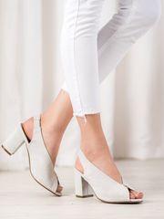 Vinceza Praktické sandály dámské šedo-stříbrné na širokém podpatku