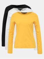 Dorothy Perkins sada tří basic triček v černé, bílé a hořčicové barvě