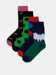 Bellinda sada čtyř párů vzorovaných ponožek v modré a zelené barvě Crazy
