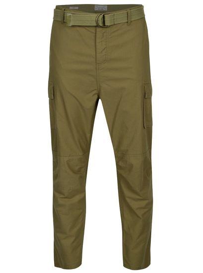 ONLY&SONS khaki regular kalhoty s kapsami a páskem Nadir M