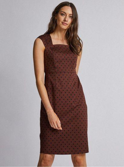 Dorothy Perkins tmavě hnědé puntíkované šaty XXL