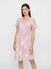 Vero Moda starorůžové vzorované šaty s překládaným výstřihem Sally