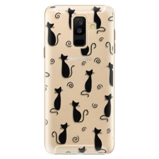 iSaprio Plastový kryt - Cat pattern 05 - black pro Samsung Galaxy A6 plus