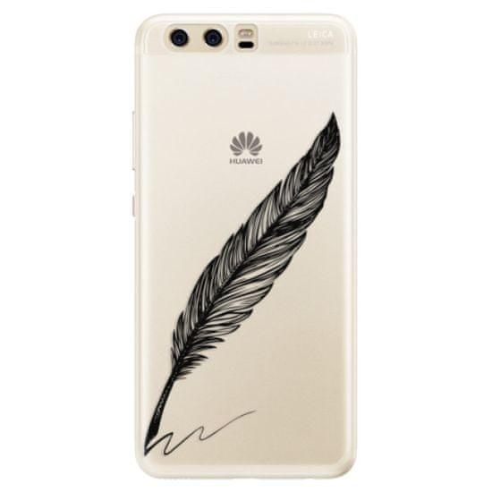 iSaprio Silikónové puzdro - Writing By Feather - black pre Huawei P10