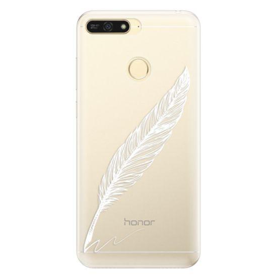iSaprio Silikonové pouzdro - Writing By Feather - white pro Honor 7A
