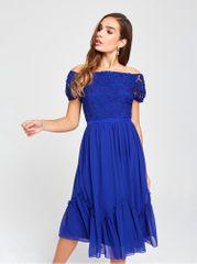 Little Mistress tmavě modré šaty s odhalenými rameny a krajkou