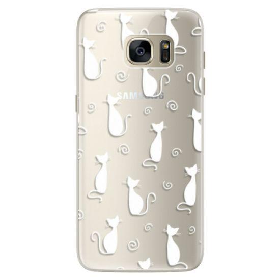 iSaprio Silikonové pouzdro - Cat pattern 05 - white pro Samsung Galaxy S7