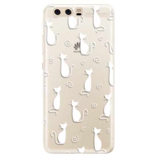 iSaprio Silikónové puzdro - Cat pattern 05 - white pre Huawei P10