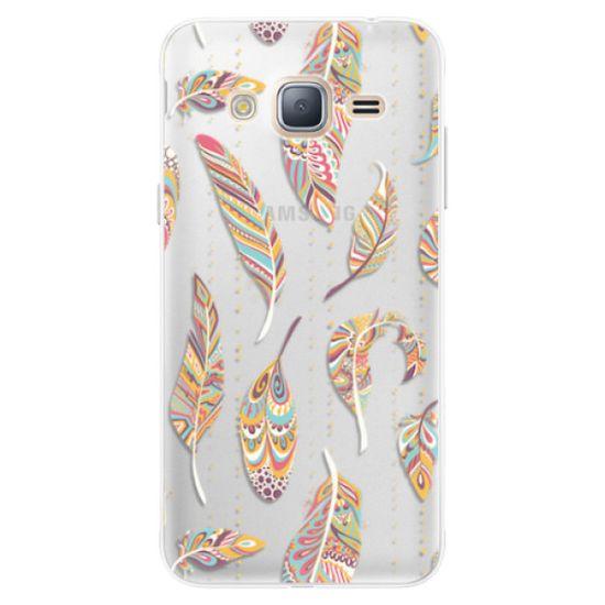 iSaprio Silikónové puzdro - Feather pattern 02 pre Samsung Galaxy J3