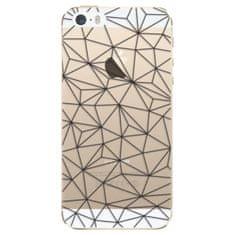iSaprio Silikónové puzdro - Abstract Triangles 03 - black pre Apple iPhone 5/5S/SE