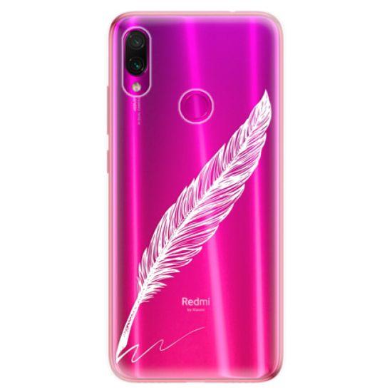 iSaprio Silikonové pouzdro - Writing By Feather - white pro Xiaomi Redmi Note 7