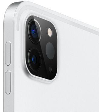 Apple iPad Pro 12,9 2020, Wi-Fi, duální ultraširokoúhlý fotoaparát, hloubková přední kamera TrueDepth, čtečka obličeje, Face ID, odemykání obličejem, rozpoznání obličejem, mikrofon, 4 reproduktory