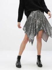Miss Selfridge sukně s prodlouženými cípy a flitry ve stříbrné barvě