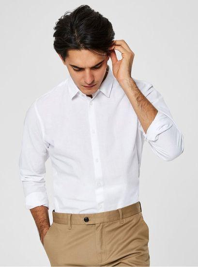 Selected Homme bílá slim fit košile s příměsí lnu Linen XXL