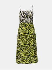 Miss Selfridge žluté šaty s leopardím vzorem a rozparky