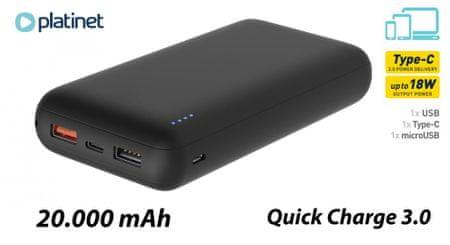 Platinet PMPB20SQ3B prenosna baterija (power bank), 20.000mAh, 18W, Tip-C, QC 3.0, PD 3.0, črn