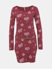 Ragwear vínové květované šaty Talona