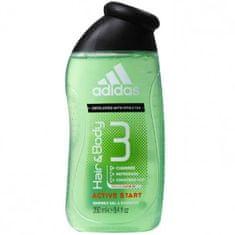 Adidas 3 u 1 Hair & Body Active Start gel za tuširanje i šampon, 250 ml