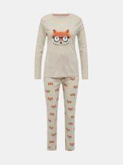 M&Co béžové vzorované dvoudílné pyžamo