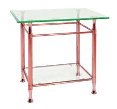 Mørtens Furniture Konferenčný stolík Maddux, 58 cm, číra/medená