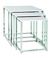 Mørtens Furniture Konferenčné stolíky Corbin, súprava 3 kusov, 36 / 39 / 42 cm, biela / chróm