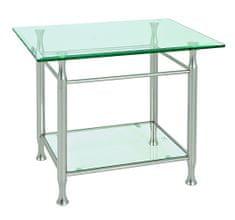 Mørtens Furniture Konferenčný stolík Simeon I., 58 cm, číra/nehrdzavejúca oceľ