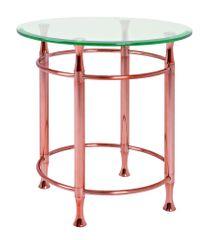 Mørtens Furniture Odkladací stolík Maddux, 52 cm, číra/medená