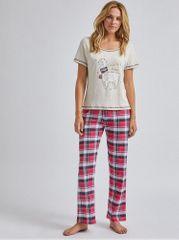 Dorothy Perkins červeno-béžové kostkované dvoudílné pyžamo