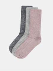 M&Co sada tří párů ponožek v růžové, šedé a modré barvě